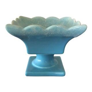 Hull Blue Stemmed Square Planter Usa Number 38 Pottery Mid-Century Vintage For Sale