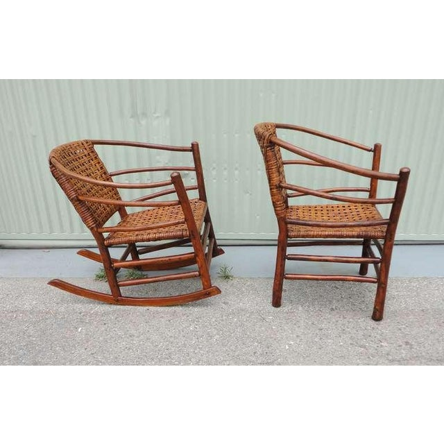 Pair of Signed Old Hickory Barrel Back Rocker and Side Chair - Image 4 of 9