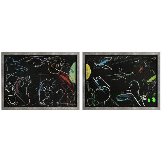 """James C. Harrison """"Underworld / Heavenly Baseball"""" Framed Drawings For Sale"""