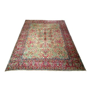 Late 19th Century Antique Kerman Lavar Rug - 9′1″ × 12′3″ For Sale