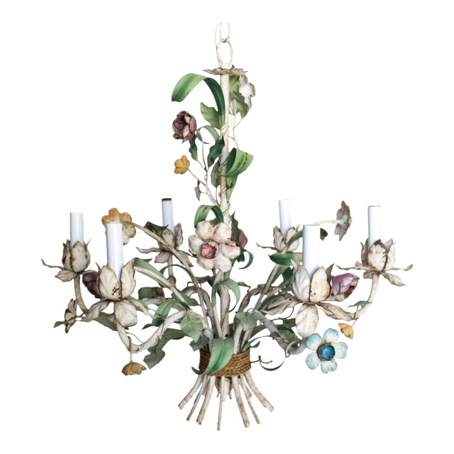 Vintage Shabby Tole Flower Chandelier For Sale