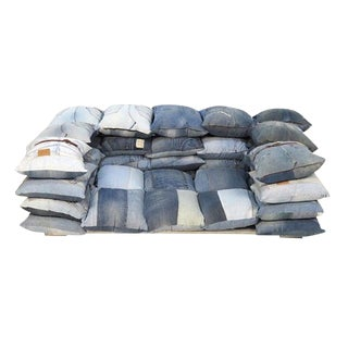 Recycled Levi's Jeans Two-Seat Sofa For Sale