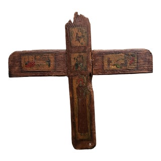 Early 20th Century Puerto Rican San Antonio Hand Painted Wood Icon Cross by A. Dalrymple, San Juan For Sale