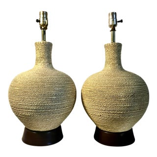 Pair of 1960s Ceramic Rope Twist Mid-Century Lamps For Sale