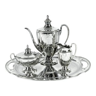 Silver Plate Usa Tea & Coffee Set of 4 For Sale