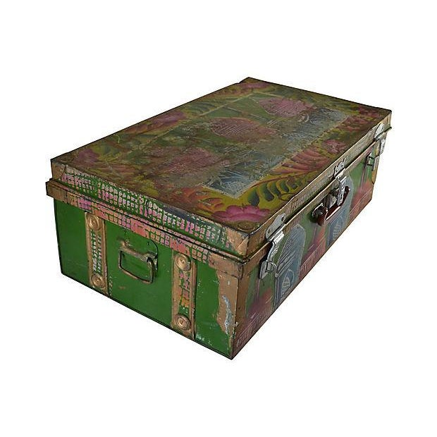 1950s 1950s Regency Indian Hand-Painted Steel Trunk For Sale - Image 5 of 10
