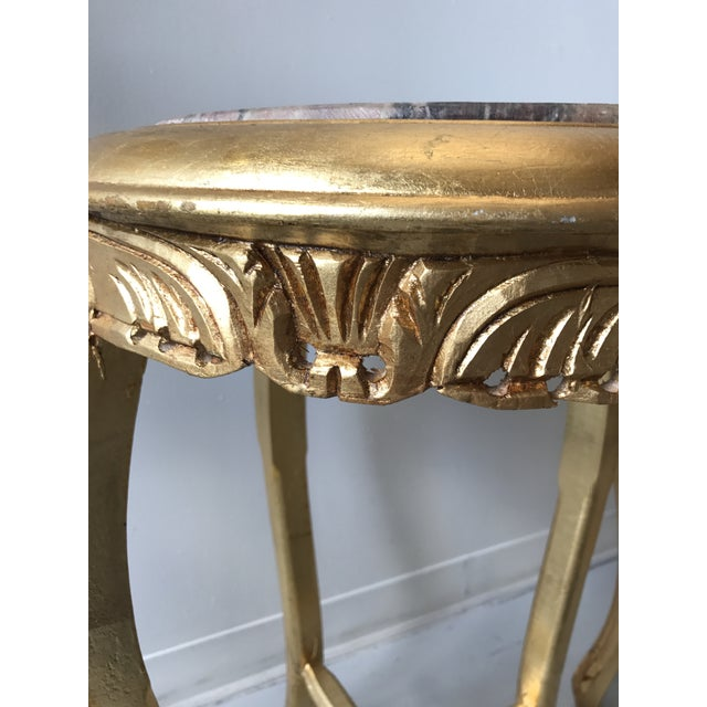 1970s Gilded Marble Top Side Tables - A Pair For Sale - Image 5 of 8