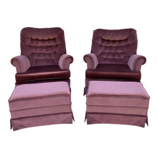 Vintage Purple Lounge Chairs With Ottomans - 4 Pieces For Sale