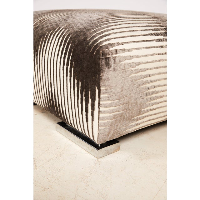 Metal Pair of Midcentury Chrome Footed Ottomans in Jim Thompson Fabric For Sale - Image 7 of 13