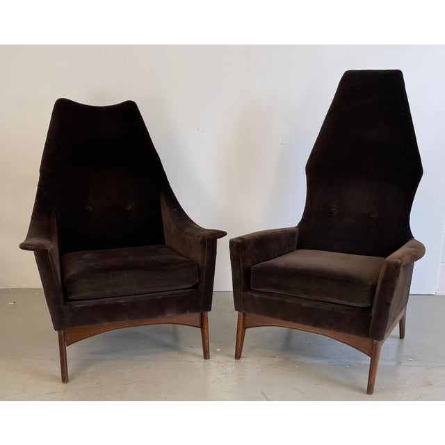 Mid-Century Modern 1960s Adrian Pearsall Attributed High-Back Lounge Chairs - 2 Pieces For Sale - Image 3 of 8