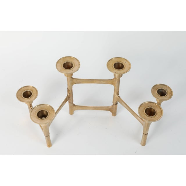Brass Danish Mid-Century Modern Brass Articulating Candleholder Nagel Style For Sale - Image 7 of 8