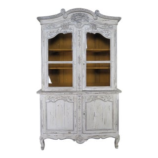 Antique French Louis XV Style Painted Wedding Armoire For Sale