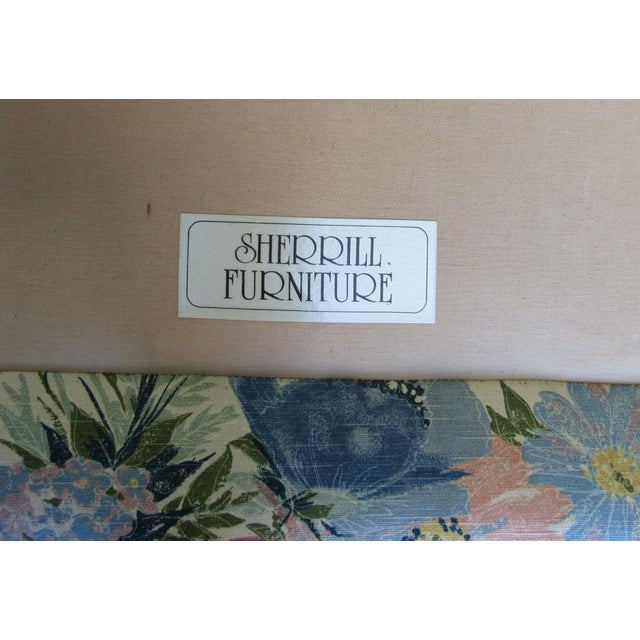 Wood Sherrill Furniture Small Sofa Custom Upholstered in Designer Floral Pattern For Sale - Image 7 of 8