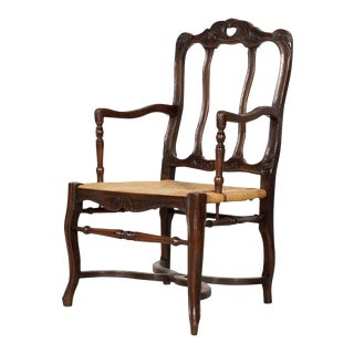 19th Century Country French Hand Carved Oak Rush Seat Armchair For Sale