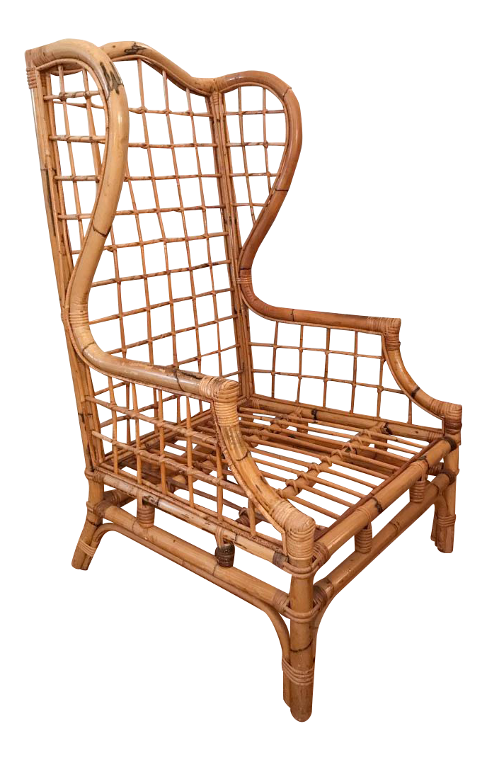 Vintage Bamboo Rattan Wing Back Chair