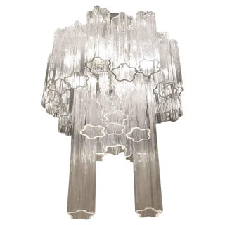 Round Mid-Century Italian Tronchi Glass Chandelier For Sale