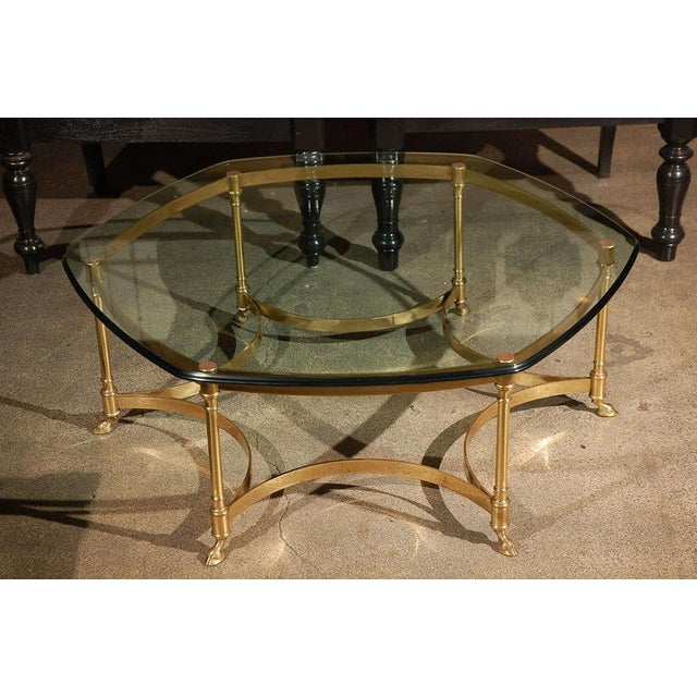 Polished Brass and Glass Octagonal Coffee Table, La Barge For Sale - Image 9 of 9