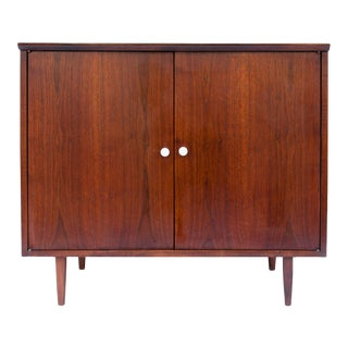 Mid Century Petite Walnut Cabinet For Sale