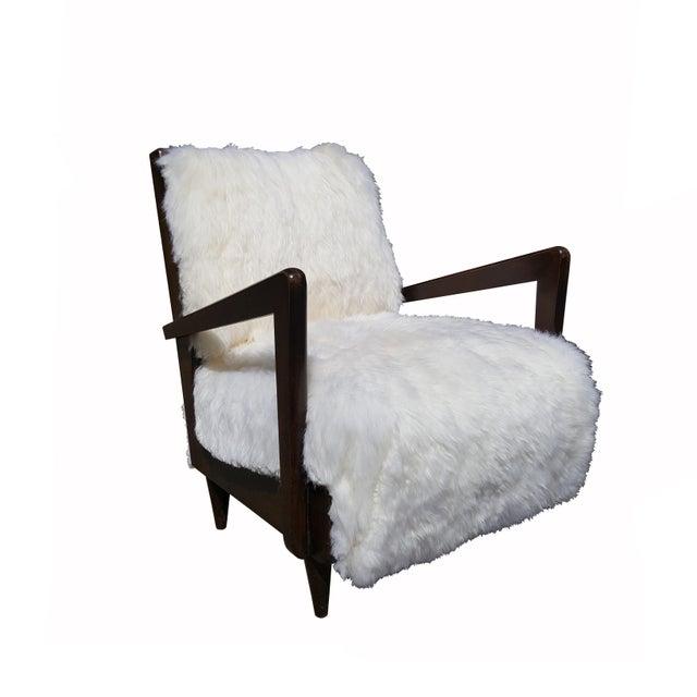 Mid Century Modern Armchairs: Italian Mid-Century Modern Sheepskin Armchairs