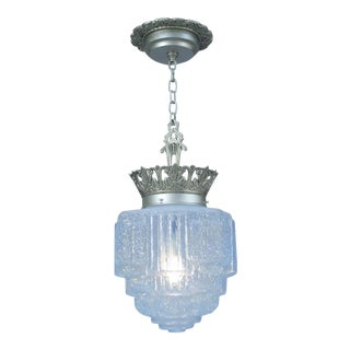 Art Deco Commercial Pendant With Skyscraper Ice Chip Blue Shade For Sale