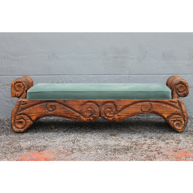 1940's Mid-Century Carved Wood Sitting Bench - Image 2 of 11