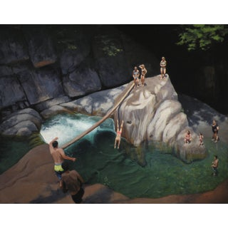 Bathers at a Vermont Swimming Hole. Painting by Stephen Remick For Sale