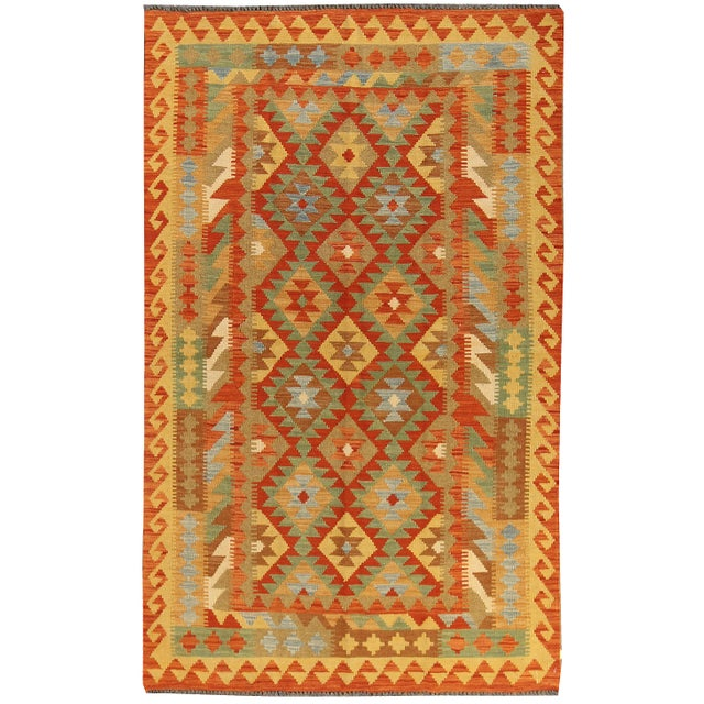 "Textile Modern Geometric Kilim, 4'4"" X 6'11"" For Sale - Image 7 of 7"