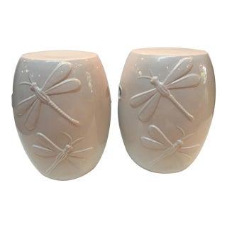 1970s Asian Modern Ivory Ceramic Dragonfly Garden Seats - a Pair