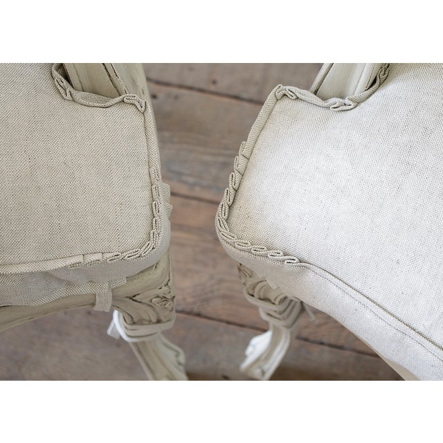 20th Century Vintage Painted Cane Back Open Arm Chairs- A Pair For Sale In Los Angeles - Image 6 of 13