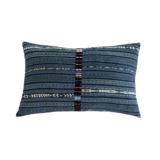Vintage Indigo Ikat Guatemalan Pillow For Sale