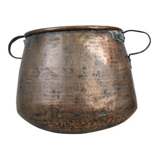 Antique Hand-Hammered Copper Bowl Kettle