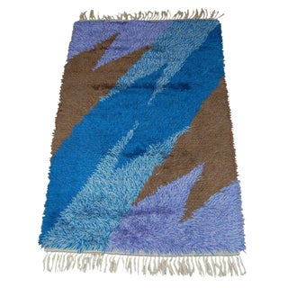 Swedish Modern 3x5 Abstract Blue, Lavender, Brown Shag Rya Rug For Sale
