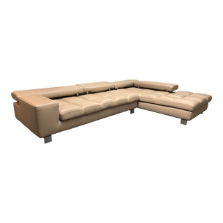 Roche Bobois Two Piece Leather Milano Sectional For Sale
