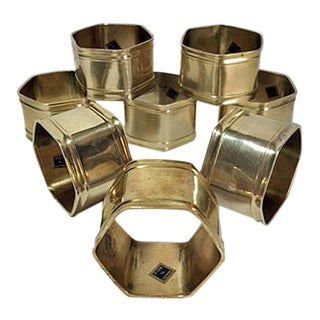 Vintage Brass Hexagon Napkin Rings - Set of 8