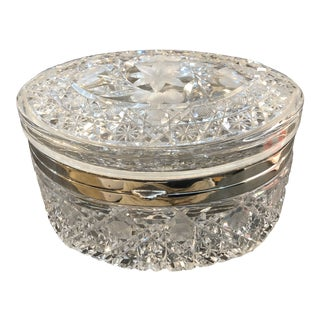 Large Oval Cut Crystal Box For Sale