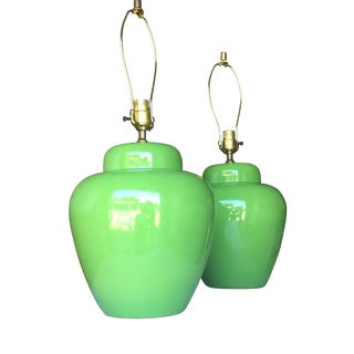 Lime Green Mid Century Table Lamp - A Pair