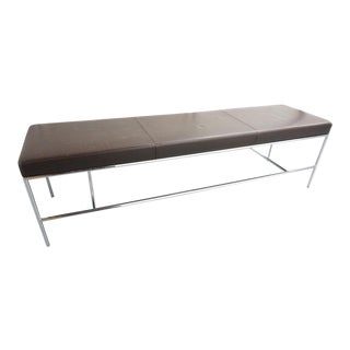 Design Within Reach Brown Leather Bench For Sale