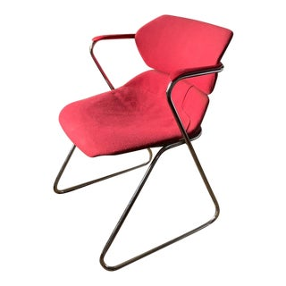 Mid Century Tubular Chrome Chair in Red For Sale