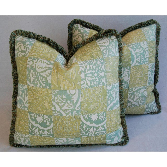 """21"""" Custom Italian Fortuny Piazzetta & Boucher Feather/Down Pillows - Pair - Image 2 of 10"""