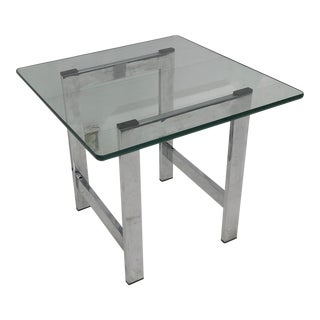 Mid-Century Modern Chrome and Glass End Table For Sale