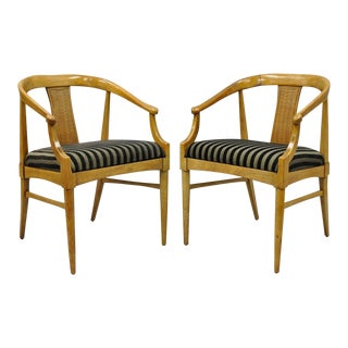 Pair of Thomasville Tamerlane Dining Arm Chairs Mid Century Modern James Mont For Sale