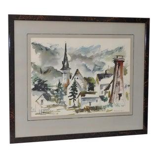 Mendocino Village, Ca Watercolor by Gerald Gleeson C.1970 For Sale