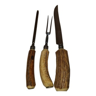 Antler Handled Meat Carving Serving Set - Set of 3 E. Parker & Sons For Sale