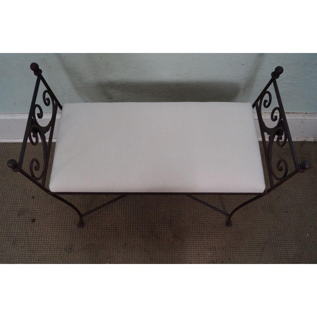 Black Iron Frame Regency Style Bench For Sale - Image 4 of 10