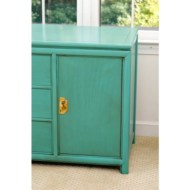 Fabulous Vintage Buffet by Thomasville in Turquoise Lacquer For Sale In Atlanta - Image 6 of 11