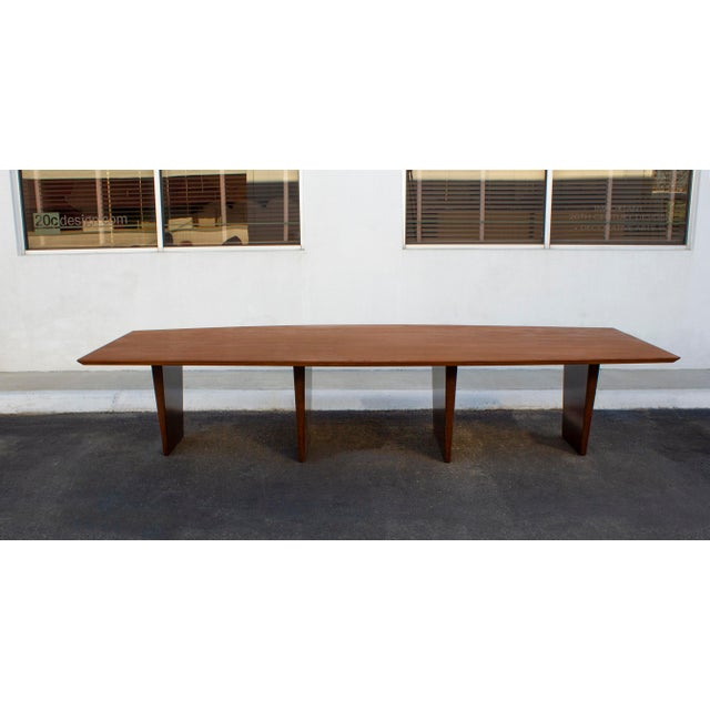 1960s Massive Edward Wormley for Dunbar Walnut and Mahogany Dining / Conference Table For Sale - Image 5 of 12