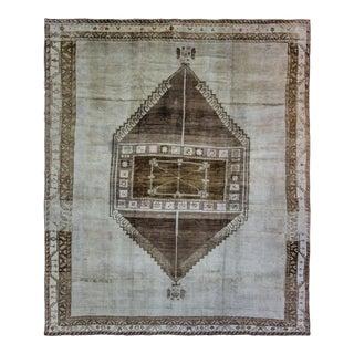 "1940s Turkish Oushak Brown Medallion Wool Carpet - 10'2"" X 12'10"" For Sale"