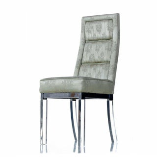 Charles Hollis Jones Chrome Lucite Leg High Back Dining Chairs in Celadon Green Preview
