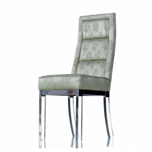 Mid-Century modern chrome and Lucite acrylic high back dining chairs. The design made famous by Charles Hollis Jones...