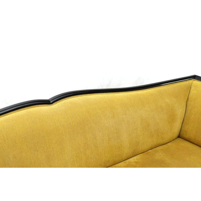 Large French Art Deco gold velvet upholstery grand sofa. Rare find excellent original condition.
